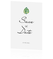 Save the Date kaart met groen blad