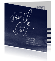 Save the Date met watercolor donkerblauwe achtergrond