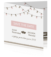 Save the date kaart voor jullie festival wedding
