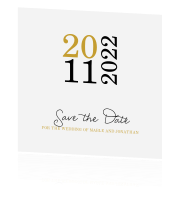 Trendy Save the Date met grote datum in goud