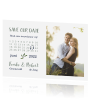Trendy Save the Date met kalender en foto