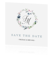 Save the Date kaart met kransje in pastel tinten