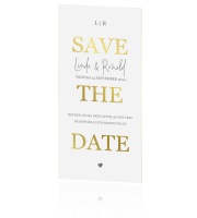 Moderne Save the Date met goudfolie en foto