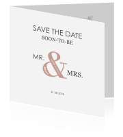 Stijlvolle Save the Date kaart met mr en mrs en foto