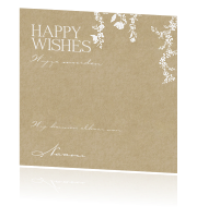 Rustiek happy wishes card met bloemenslingers