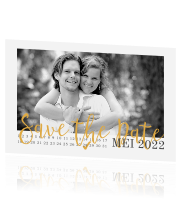 Save the Date met foto en kalender in peach