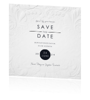 Save the date kaart met wit ornament