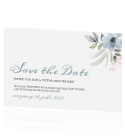Save the Date met aquarel bloemen in pastel tinten