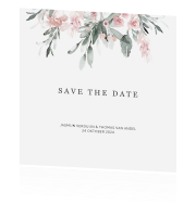 Romantische Save the Date met bloemen in mint en peach