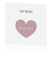 Trendy save the date kaart met foto en hart in rood