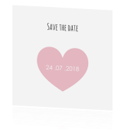 Trendy save the date kaart met foto en hart in roze