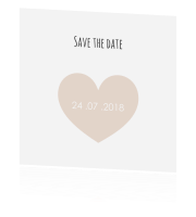 Trendy save the date kaart met foto en hart in taupe