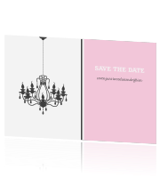 Trendy Save the Date kaart met een kandelaar.
