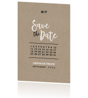 Save the Date kaart op kraft en met kalender
