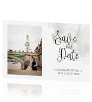 Save the Date kaart met foto en trendy letters