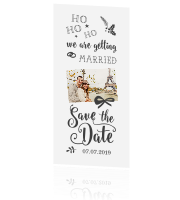 Trendy Save the Date kerstkaart met grappige tekst