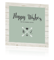 Trendy Happy Wishes Card met hout en grijsgroen