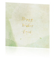 Groene Happy Wishes Card met watercolor kleuren