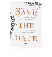 Trendy Save the Date met blaadjes