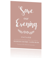 Save the Date met trendy typografie in roze