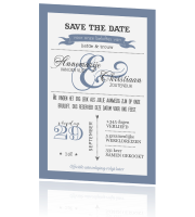 Trendy Save the Date met leuke letters in denim
