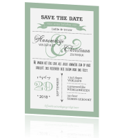 Trendy Save the Date met leuke letters in mint