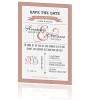 Trendy Save the Date met leuke letters in peach