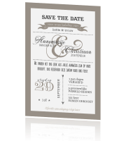 Trendy Save the Date met leuke letters in taupe