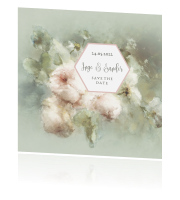 Save the Date kaart met watercolor bloemen