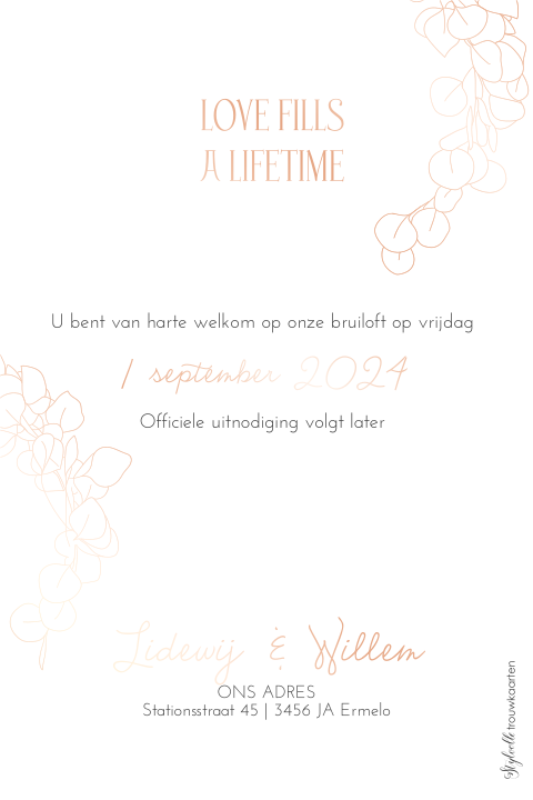 Save the Date kaart met krans en roséfolie