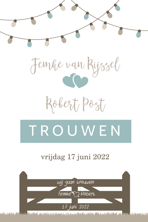 Trendy trouwkaart voor festival wedding