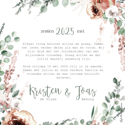 Save the Date met bohemian bloemen en veren