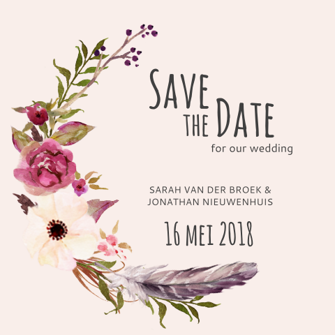 Save the Date met bohemian flowers en foto