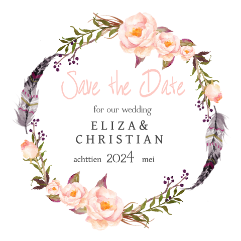 Save the Date met bohemian flowers en veren