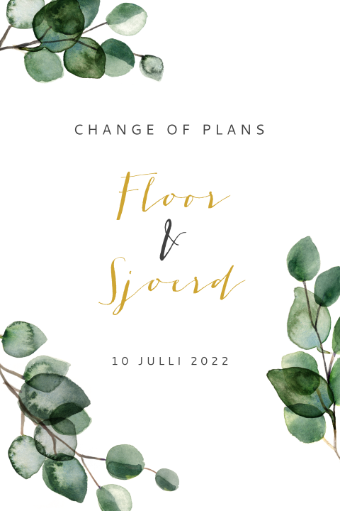 Change the Date kaart met eucalyptus