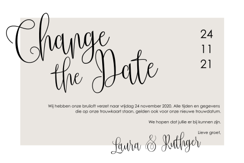 Change the Date kaartje