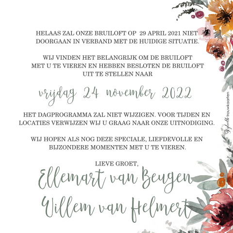 Change the Date met takjes in bloemen in roest tinten