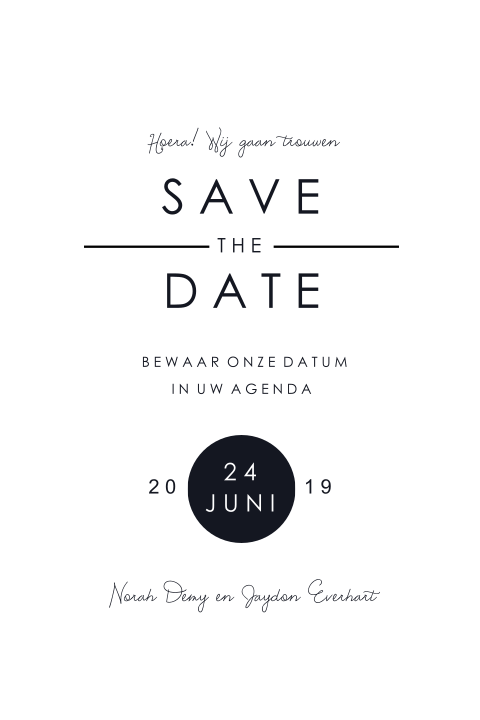 Save the Date kaartje met foto en ornament