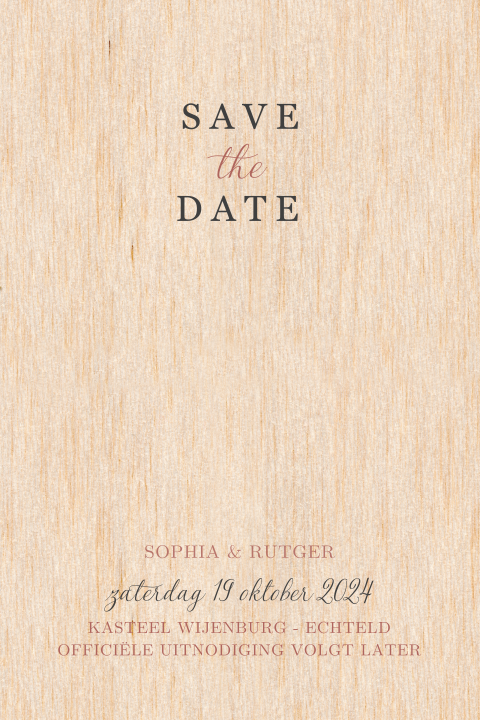 Chique Save the Date kaart hout met touwtje