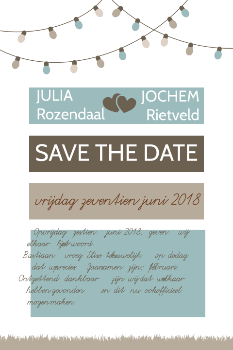 Perfecte save the date kaart voor festival wedding