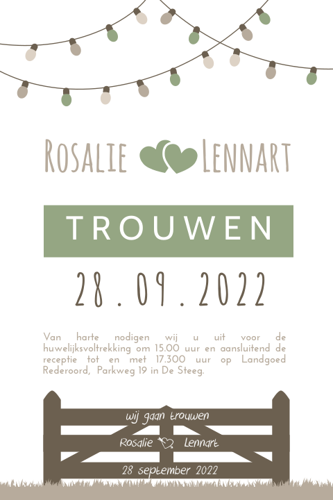 Perfecte trouwkaart voor festival wedding in groen