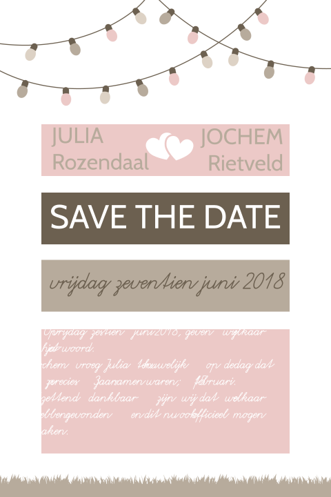 Perfecte save the date kaart voor jouw festival wedding