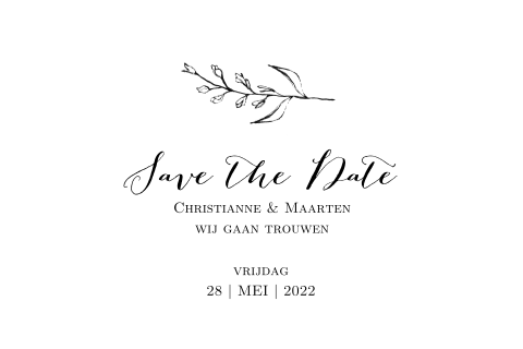 Save the Date kaart met fine art takjes