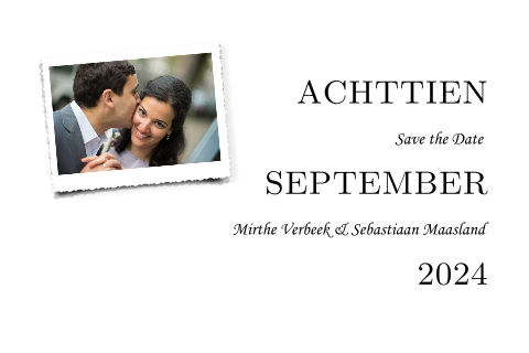 Moderne Save the Date kaart met foto.
