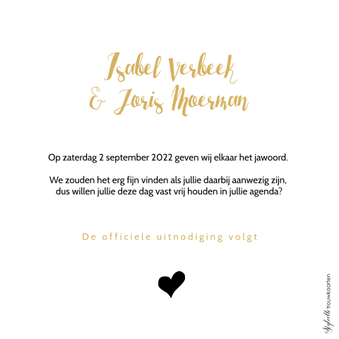 Trendy Save the Date kaart in goud met hartje