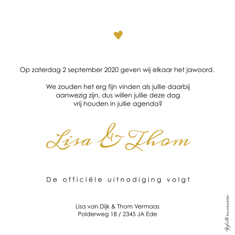 Save the Date kaart met goudkleurige Mr and Mrs