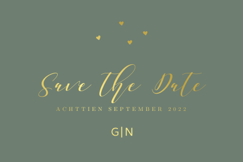 Save the Date kaart met goudfolie en hartjes