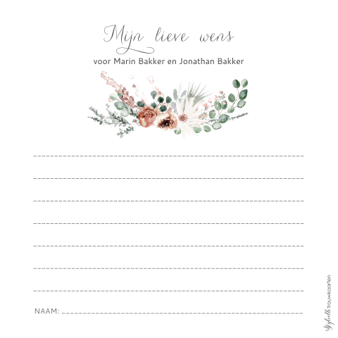 Bohemian happy wishes card met bloemenkrans