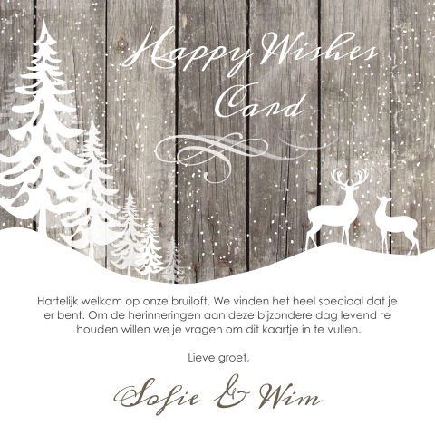 Happy wishes card voor winter bruiloft met sneeuw