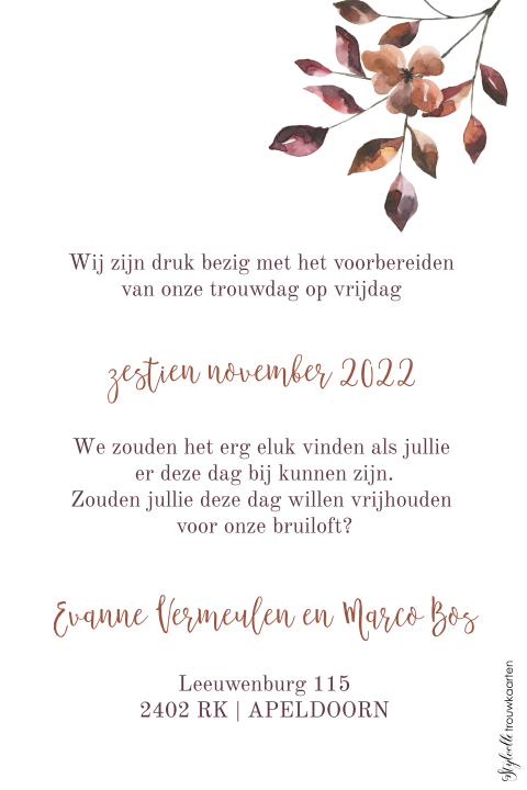Herfst Save the Date kaart met krans